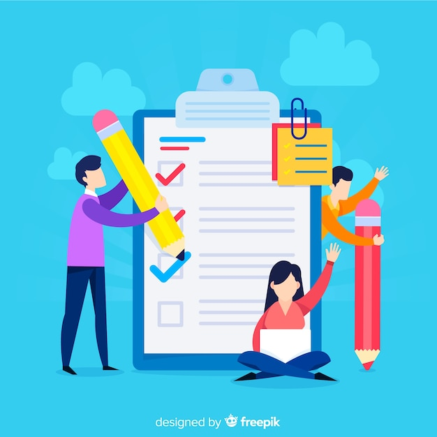 Work team checking giant check list Free Vector