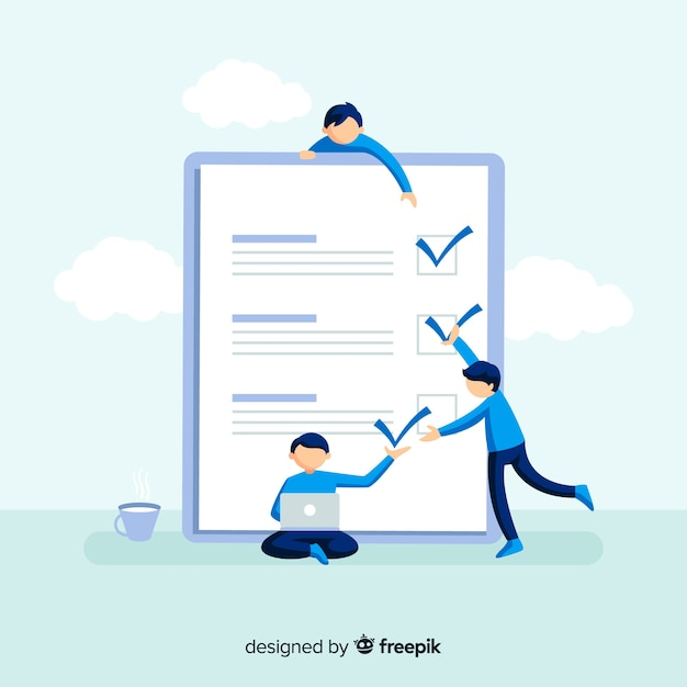Work team checking list giant check list Free Vector