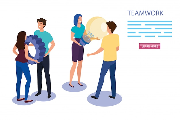 Work team group with gear and light bulb Free Vector