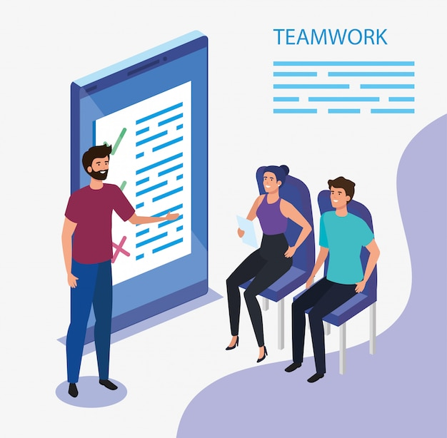 Work team group with smartphone device Free Vector