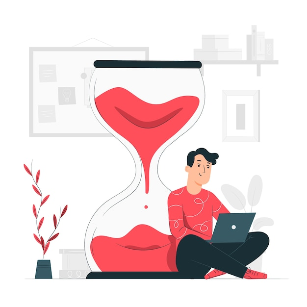 Work time concept illustration Free Vector