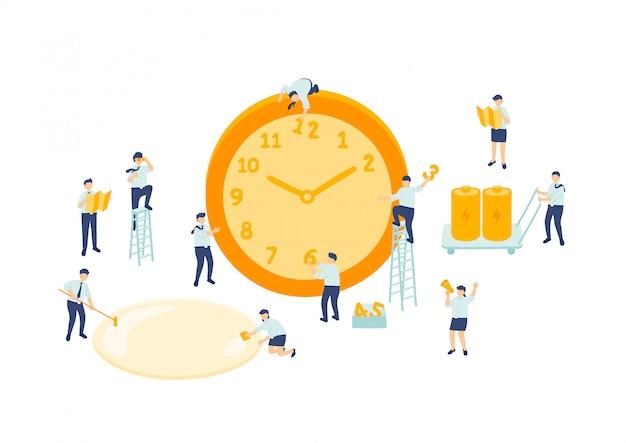 Рабочее время сотрудник управление работой в команде, миниатюрные сотрудники сборочной команды крошечные люди делают часы, бизнес метафора концепция плакат или дизайн социального баннера, иллюстрации, изолированных на белом фоне Premium векторы
