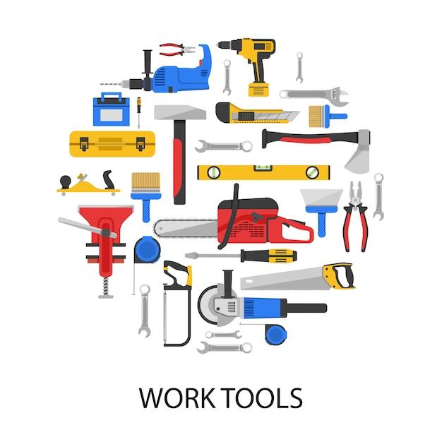 Набор рабочих инструментов круглой формы с пилами сверла гаечные ключи тиски плоскогубцы изолированные шлифовальные Бесплатные векторы