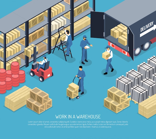 Work in ware house illustration Free Vector