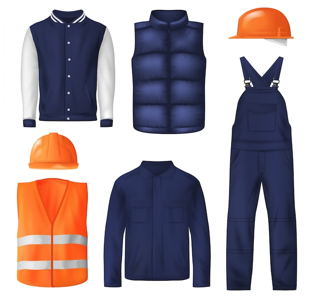 Work wear and sports clothes for men Premium Vector