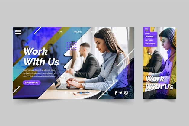 Work with us business landing page Free Vector