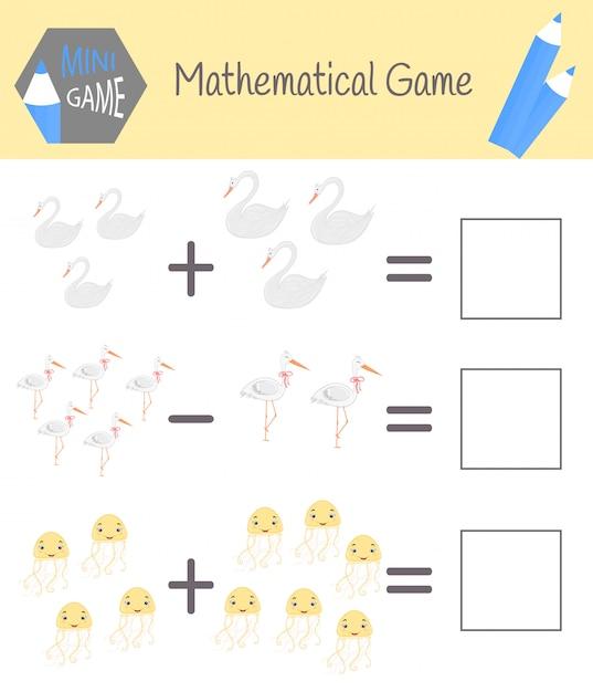 就学前教育の数学に関するワークブック。子供のためのパズル。数えることを学ぶ。例を解く Premiumベクター