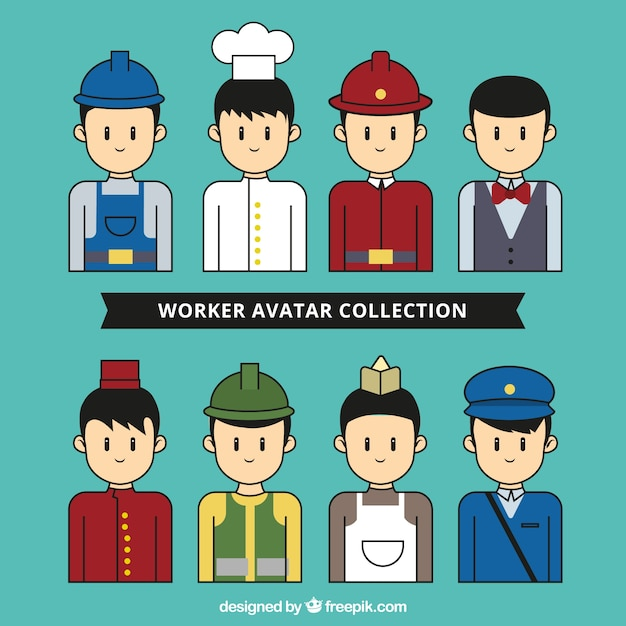 Worker avatar collection with hand drawn style Free Vector