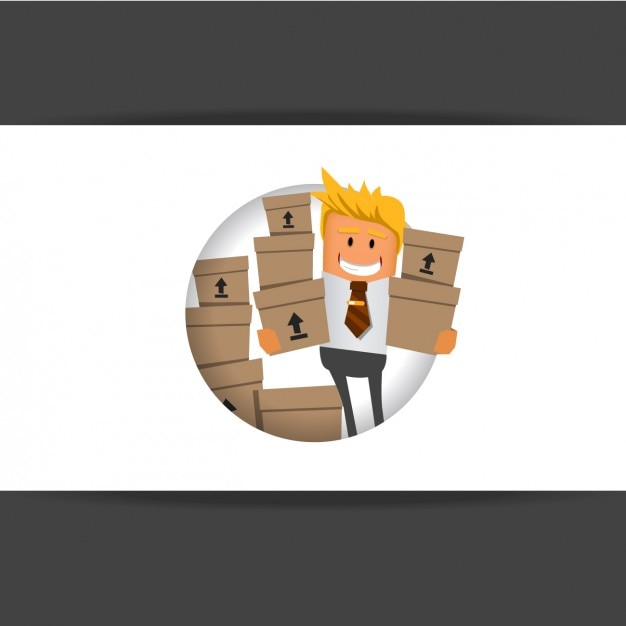 Worker carrying boxes Free Vector