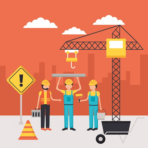 Worker construction equipment Free Vector