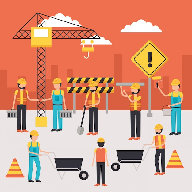 Worker construction equipment Free Vector