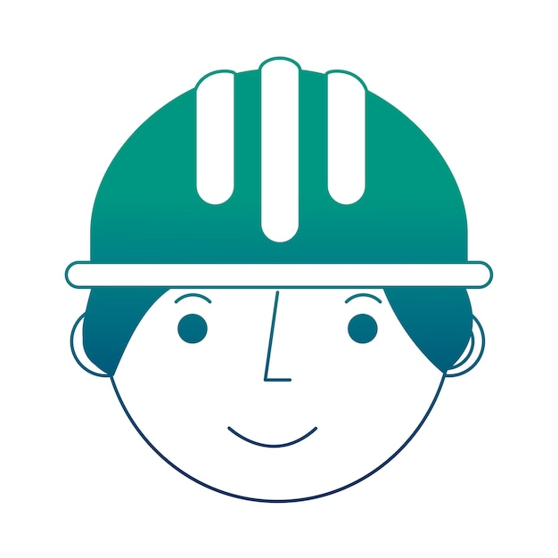 Worker construction in hardhat face character Premium Vector