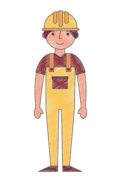 Worker construction in yellow overalls Premium Vector