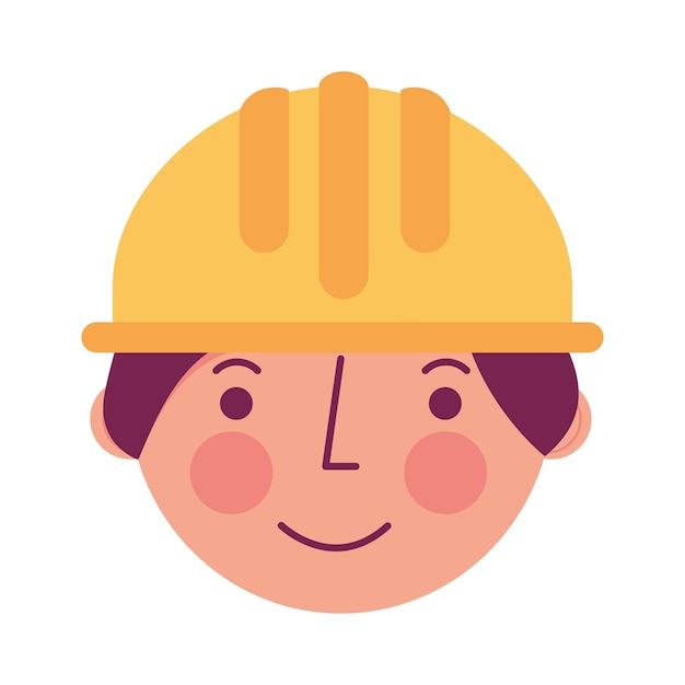 Worker contruction in hardhat face character Premium Vector