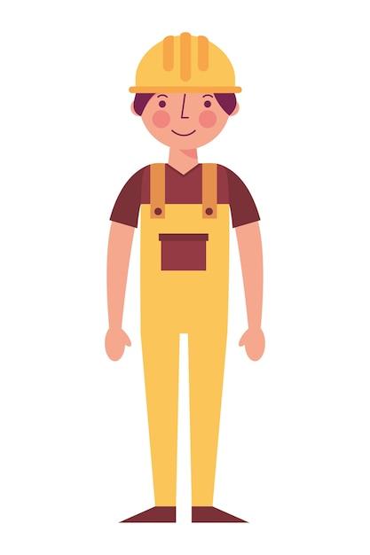 Worker contruction in yellow overalls vector illustration Premium Vector