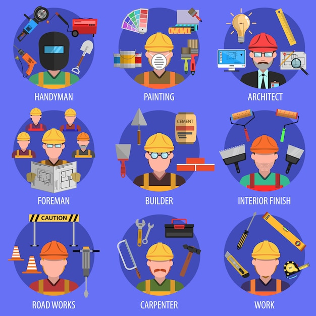 Worker icons set Free Vector