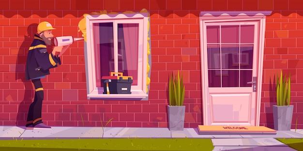 Рабочий устанавливает пластиковое окно в доме Бесплатные векторы