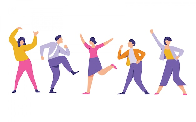 Worker men and women are dancing for successful business and enjoy the party Premium Vector