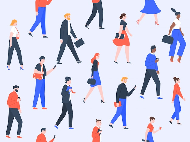 Worker people pattern. office characters and business people group walking, modern worker team concept. men and women going to work seamless  illustration Premium Vector