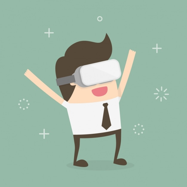 Worker playing with augmented reality glasses Free Vector