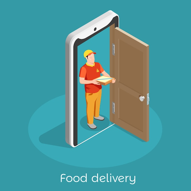 Worker professions isometric composition with food delivery man illustration Free Vector