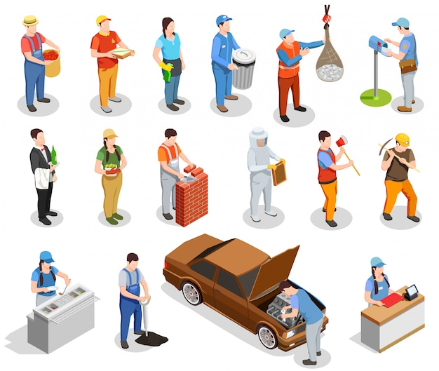 Worker professions isometric people Free Vector