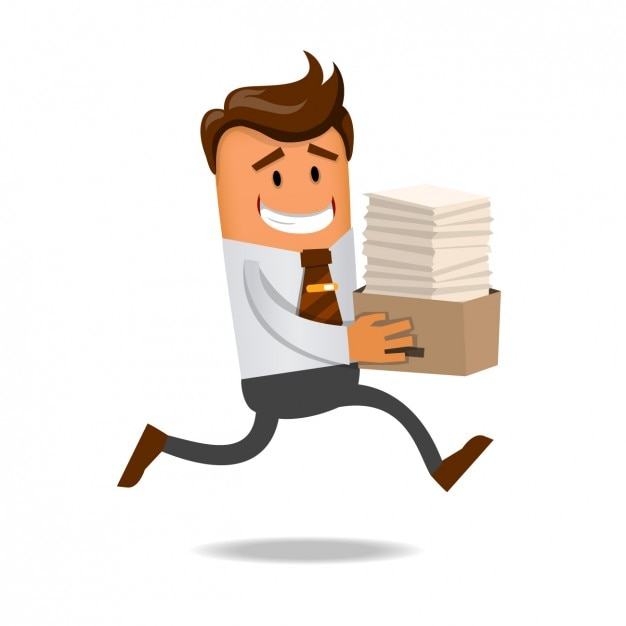 Worker running with a lot of documents Free Vector
