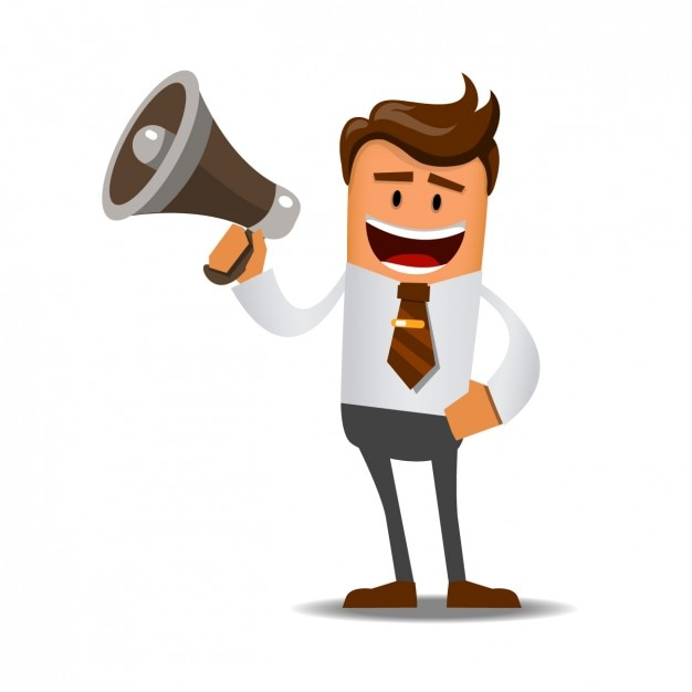 Worker with a megaphone Free Vector