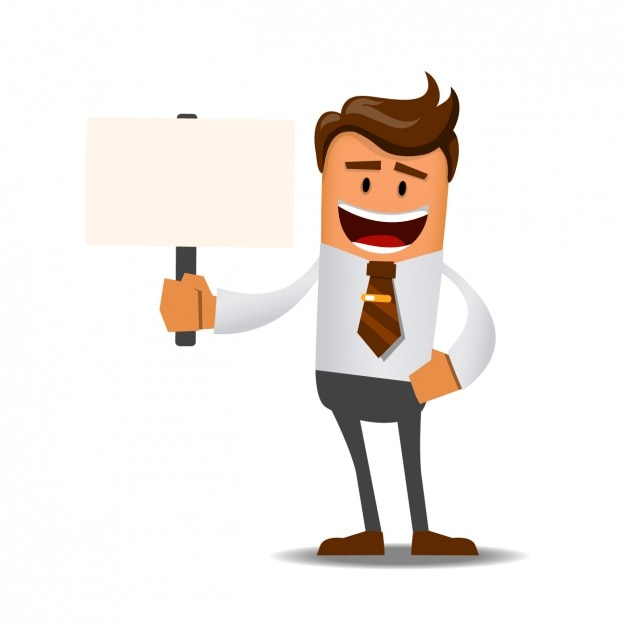 Worker with a sign Free Vector