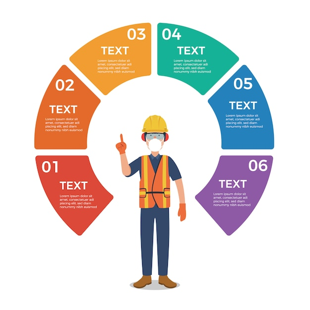 Worker with circle chart infographic Premium Vector
