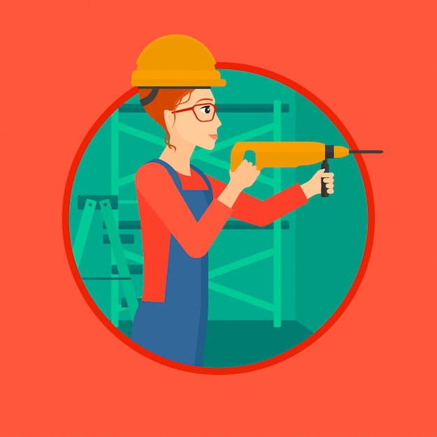 Worker with hammer drill. Premium Vector