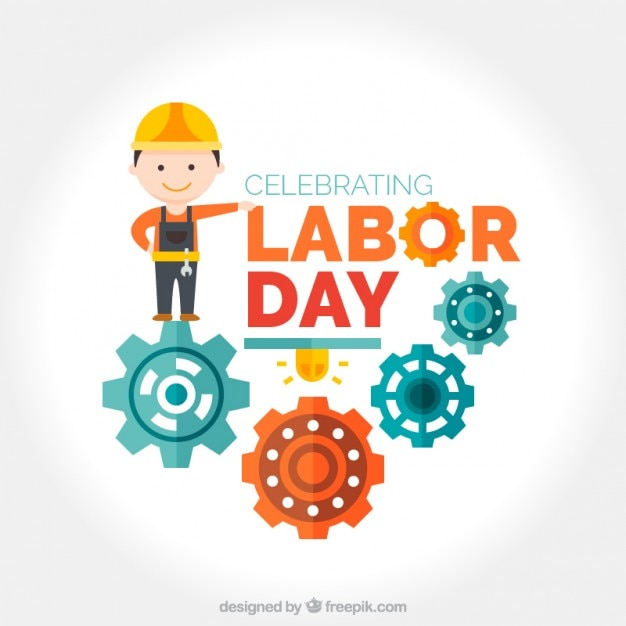 Worker with mechanism labor day background Premium Vector
