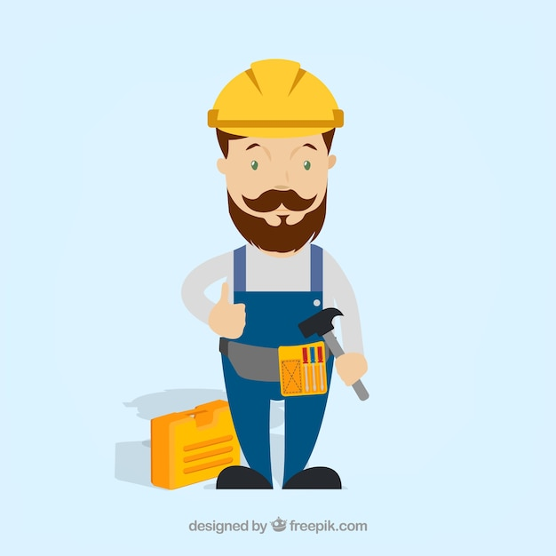 Worker with protective gear Free Vector