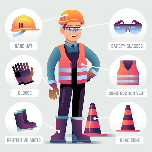 Worker with safety equipment. man wearing helmet, gloves glasses, protective gear. builder protection clothing ppe vector infographic Premium Vector