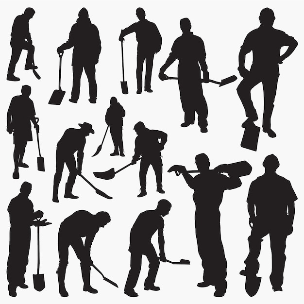 Worker with spade silhouettes Premium Vector