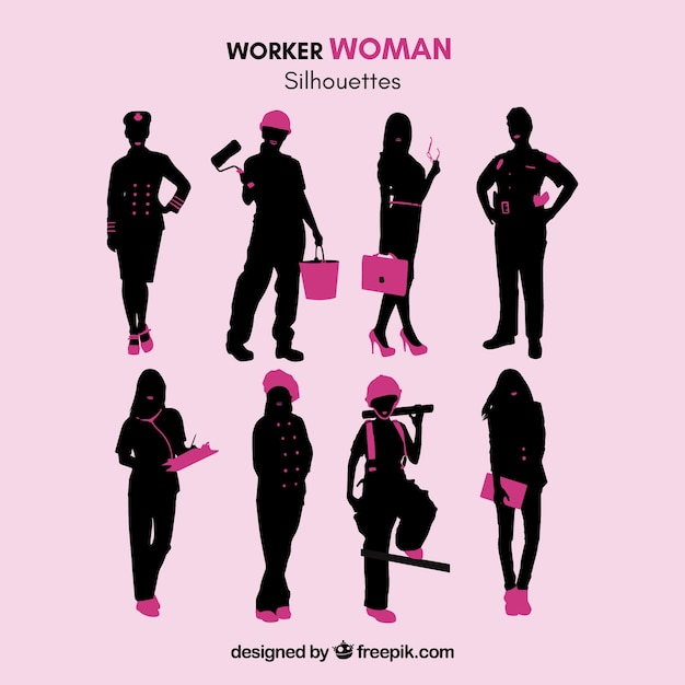 Worker woman silhouettes Free Vector