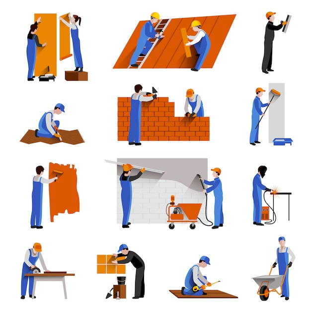 Workers builder engineers and technician icons set Free Vector