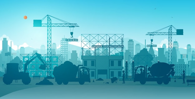 Workers building houses with cranes on construction sites. Premium Vector