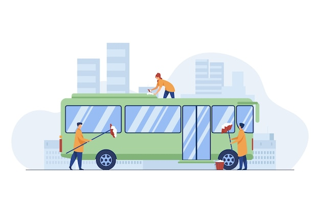 노동자 청소 및 세척 버스. 차량, 세제, 작업 평면 벡터 일러스트 레이 션. 서비스 및 대중 교통 무료 벡터