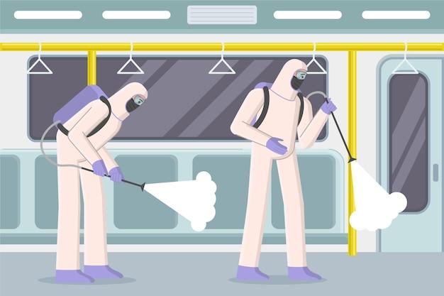 Рабочие убирают общественные места Бесплатные векторы