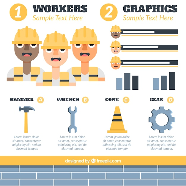 Workers and construction elements for infography Free Vector