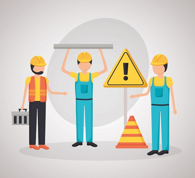 Workers construction equipment Free Vector