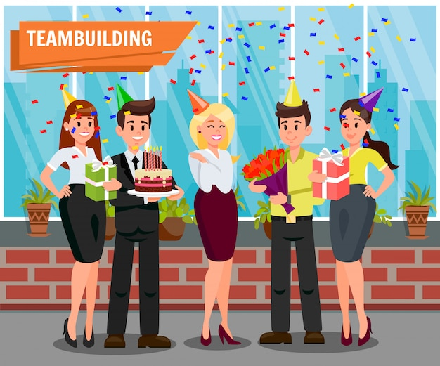 Workers at corporate party vector illustration Premium Vector