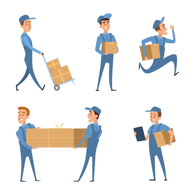 Workers of delivery. set of characters Premium Vector