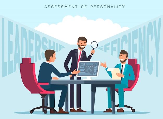 Workers efficiency assessment flat banner template Premium Vector