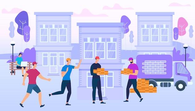 Workers holding bricks on city building Premium Vector