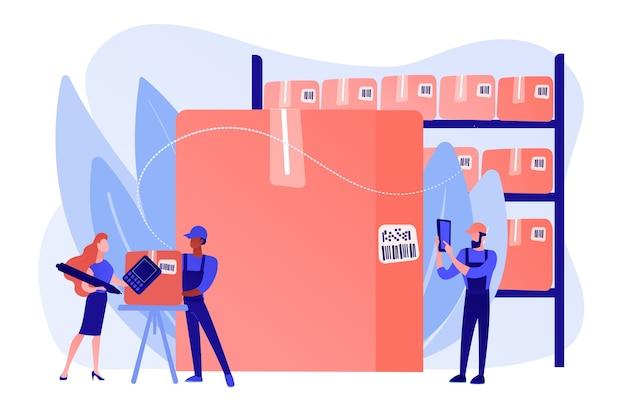 Рабочие на складе, склад. сортировка и маркировка товаров. сканирование штрих-кода, программное обеспечение для генератора штрих-кода, концепция мобильного подтверждения доставки. розовый коралловый синий вектор изолированных иллюстрация Бесплатные векторы