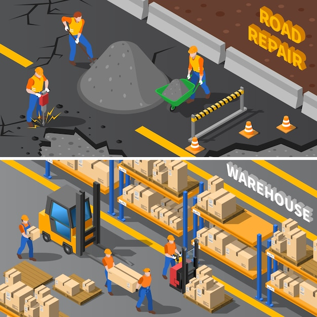 Workers isometric banners set Free Vector