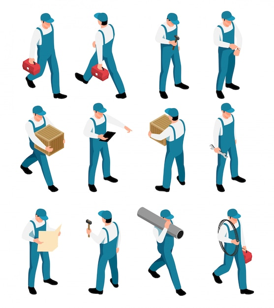 Workers isometric icons set with male characters in uniform with tools in different poses isolated Free Vector
