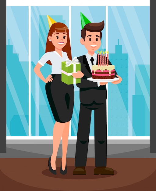 Workers at office party flat vector illustration Premium Vector